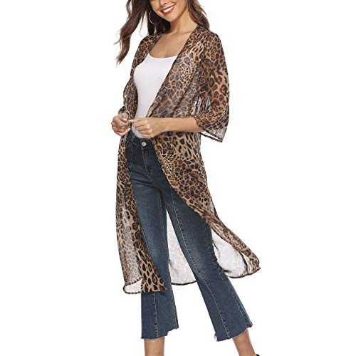 CHIC DIARY Damen Offene Strickjacke Leopard Chiffon Mantel Strand Badeanzug Kittel Lang Langarm Cardigan Outwear Frühling Sommer (Leopard Kittel)