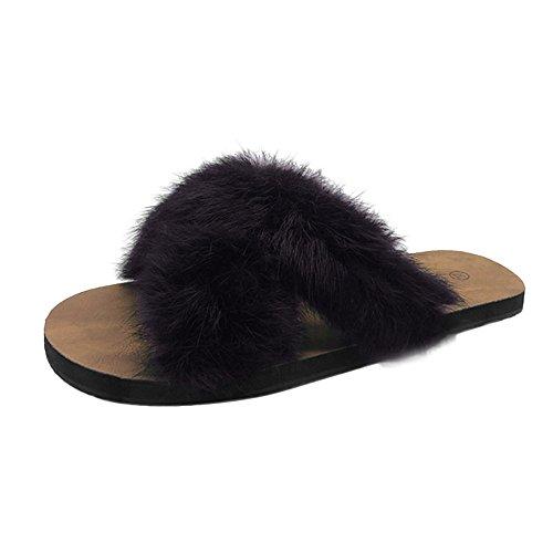 Femmes Sandales Été Chaussures Chic Confortable Sexy Mode Grande Taille Talon Plat Faux Fourrure Pantoufles Fuzzy Fluffy Slippers Open Toe Slip sur Décontractées Pas Cher (39, Noir)