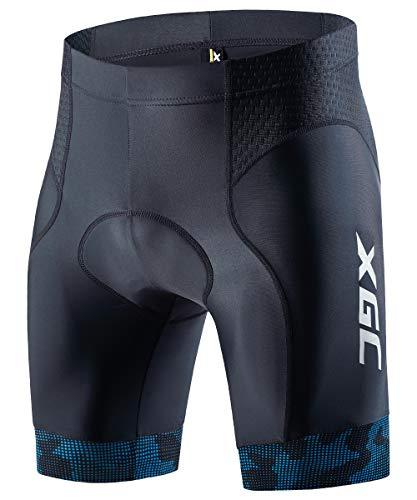 XGC Herren Kurze Radlerhose und Radunterhose Radsportshorts Fahrradhose für Männer elastische atmungsaktive 3D Schwamm Sitzpolster mit Einer hohen Dichte (Blue, M)