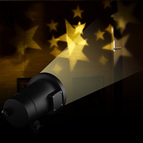 E-foxer Wasserdichte außen LED Weihnachtsbeleuchtung, 1Gartenleuchte LED Sternenhimmel Projektor, Mauer Dekoration, Party Licht, Gartenlicht für Festen, Weihnachten, Karneval (Warm White) - 2