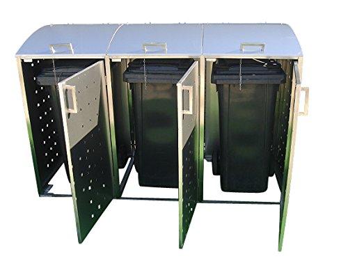 Mülltonnenbox für drei 240 Liter Mülltonnen, Modell Milbo aus Edelstahl - 3