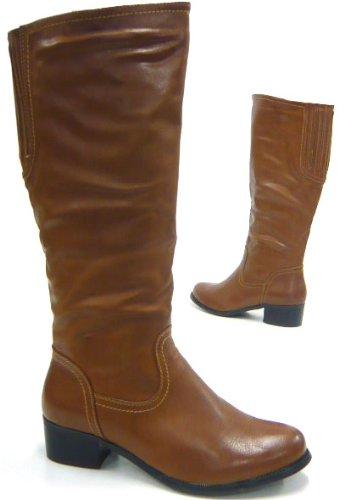Elegante Damen Stiefel Reiter Boots kniehohe Stiefel Beige