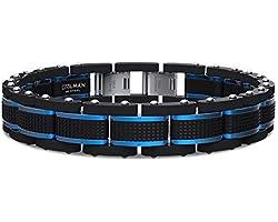 COOLMAN Joyas para Hombre Pulseras Acero Inoxidable Azul & Negro Ajustable 15,5-23 cm (con Cierre de Caja de Regalo)