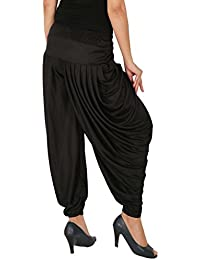 Several Side Pleats Style Dhoti Pant of Women - Fashion And Freedom Women's Lycra Side Pleated Dhoti Patiala Salwar Harem Pant - Black, F_SP_DH_B