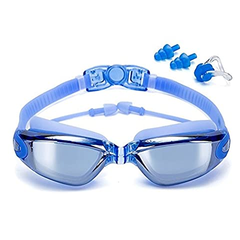 Swimming Goggles No Leaking Anti Fog UV Protection Triathlon Swim Goggles with Free Protection Case + Nose Clip + Ear Plugs for Adult Men Women Girls Youth Kids