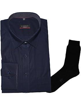 ETERNA Herrenhemd Modern Fit, marine, Chambray, Under Button-Down + 1 Paar hochwertige Socken, Bundle