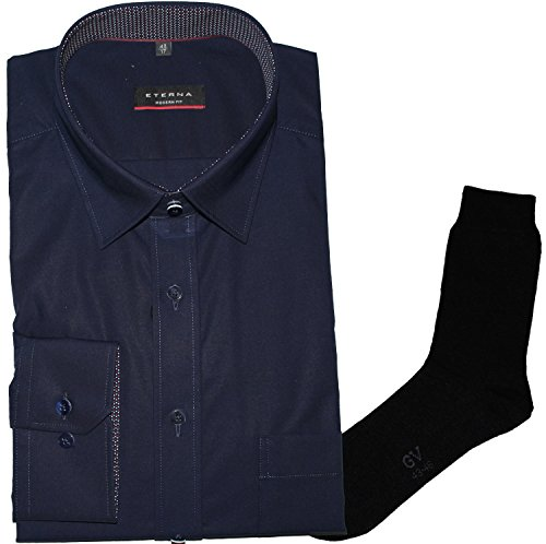 ETERNA Herrenhemd Modern Fit, marine, Chambray, Under Button-Down + 1 Paar hochwertige Socken, Bundle Marine