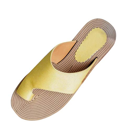 WINLISTING Muttertag Sommer Damenmode Rope Flats Strand Hausschuhe Open Toe Sandalen Römersandalen (Gelb, 38) - Für Kleid Frauen Qupid Schuhe