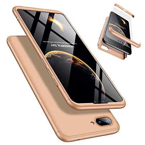 Funda Xiaomi 8 Lite 360°Caja Caso + Vidrio Templado Laixin 3 in 1 Carcasa Todo Incluido Anti-Scratch Protectora de teléfono Case Cover para Xiaomi 8 Lite (Oro)