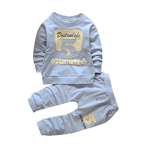 sunnymi Warm Halten★Jungen Buchstaben Lange Ärmel Anzug ★Baby Kinder Kleidung (3 Jahre alt, Hellblau)