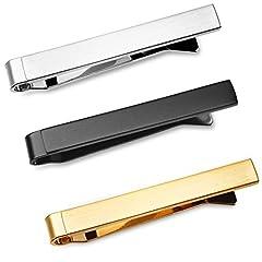 Idea Regalo - Set di 3 Fermacravatta 4 CM Uomo Colore Argento, Nero, Oro + Pacco Regalo