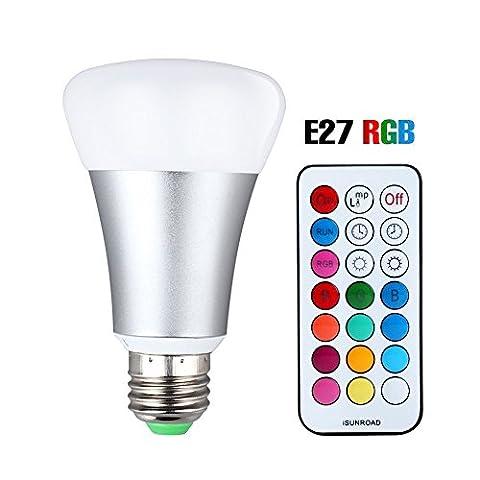 LED RGBW Lampe mit Fernbedienung, 10W A19 E27 Base Dimmbare Birne mit RGB und Kaltweißem Licht, RGB +