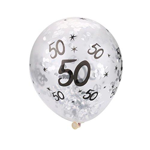 5x/Set Konfetti gefüllt Ballons Latex Ballons Happy Birthday 30. 40. 50. Party Hochzeit Dekoration gessppo Free Size 50th