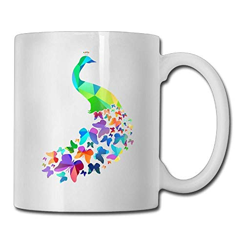 ERCGY Peacock Butterfly Tail Coffee Mug 11 Oz Mens Idea Gifts Tea Cup A for Your Family and Friends -