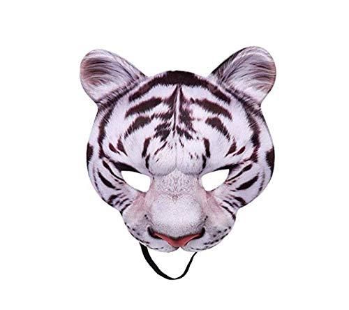 White Kostüm Tiger Zubehör - Halloween Maske White Tigers Masken Party Cosplay Masken Horror Tiger Masque Halloween Party Dekoration Zubehör,White