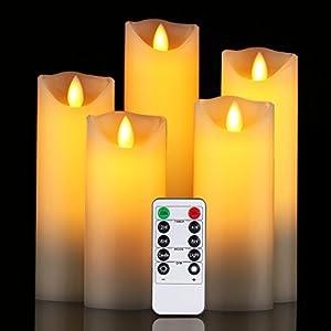 Candele LED di Daby, set di 5 candele decorative (14 cm, 15 cm, 16 cm, 18 cm, 20 cm), 300 ore di candele senza fiamma con telecomando a 10 tasti. Fiamma LED lampeggiante,realizzato in vera paraffina