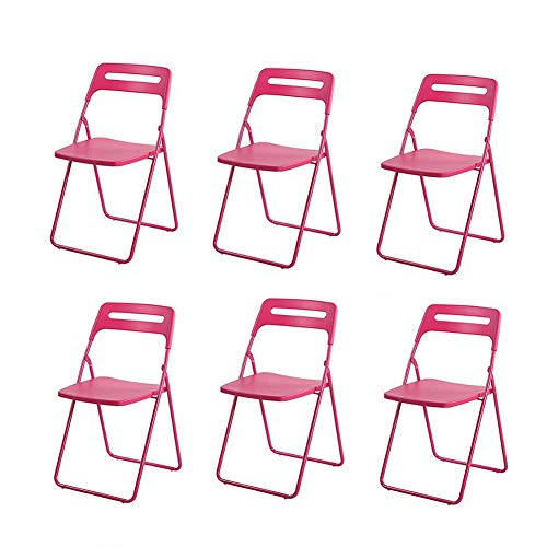 WGXX Klappstuhl für Erwachsene, modernes Design, Kunststoff, faltbar, 6 Stück Rose