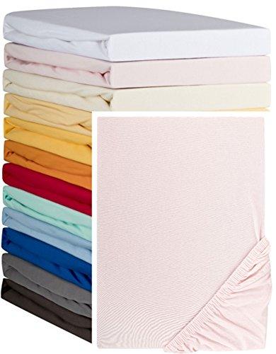 Aminata – hochwertiges Spannbettlaken á 180x190 cm – 200x200 cm aus Jersey mit Rundumgummi in Rosa Bettlaken Spannbetttuch Pink Rosé...