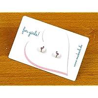 Mädchenschmuck Flamingo Ohrstecker Ohrringe Silber 925 - Schmuck Handgemacht in Deutschland für Kinder Mädchen Damen