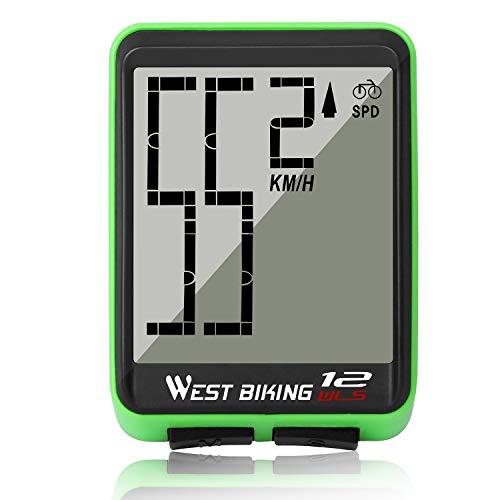 ICOCOPRO Fahrradcomputer Große Digit Fahrrad Tacho Kilometerzähler Drahtlose Wasserdichte Fahrradcomputer mit LCD Hintergrundbeleuchtung Automatische Weckfunktion & Multifunktionsgerät