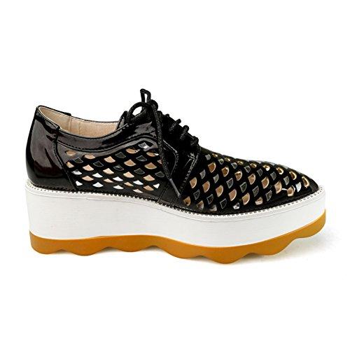 Spring Chaussures pour femmes/Creusent souliers plate-forme en cuir verni/Chaussures de sport étudiant/vent de chaussures Angleterre A