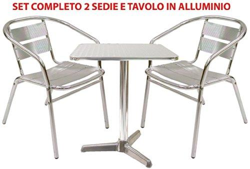 Set completo salotto in alluminio 2 sedie e tavolo per casa balcone bar