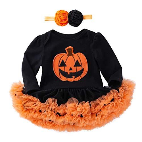K-youth Vestidos Bebe Niña Bautizo, Ropa Bebe Recien Nacido Niña Bebé Mono Halloween 2018 Ofertas Otoño Invierno Vestido Bebe Ceremonia Tutu Princesa Vestido de niñas(Negro-3,12-18 Meses)