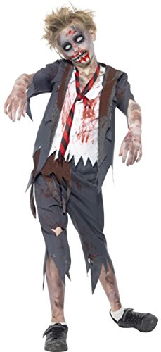 Kinder Halloween Fancy Kleid Jungen Zombie School Boy Kostüm Komplettes Outfit (Halloween School Boy Kostüm)