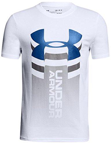 Under Armour Veritcal Logo SS T Camiseta Manga Corta, Niños, Blanco (100), L