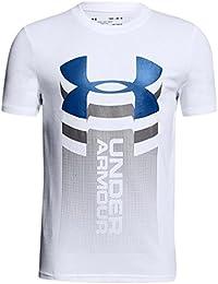 Under Armour Veritcal Logo SS T Camiseta, Niños, Blanco (100), S