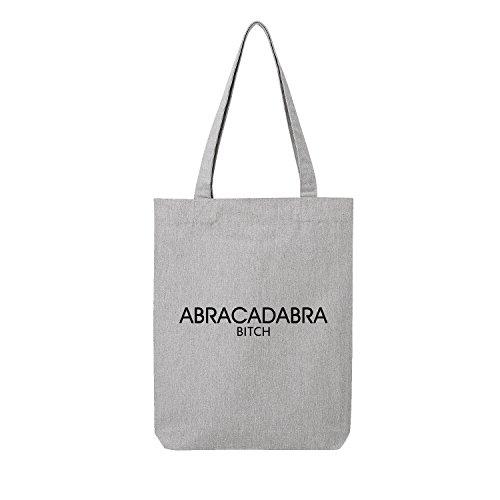 abracadabra bitch Bag Frauen Shopper grau Jute Beutel Handtasche Strand Sommer faltbar klein bedruckt Motiv Print (388-U760-Grau)