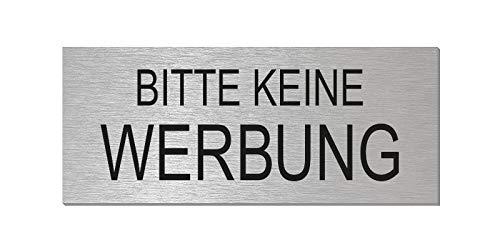 Briefkastenschild - Bitte Keine Werbung | Aluminium Edelstahlschilder-Optik | vollflächig selbstklebend | 60x25 mm l Nr.29013-S