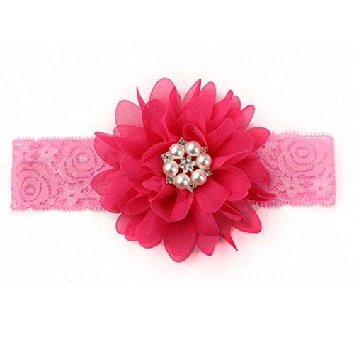 Tefamore Diademas y Mini Hairband Headwear De Encaje ,Gasa Arco De La Flor Del Pelo Para Bebé (Tamaño: el 18cm * 4cm, Rose Red)