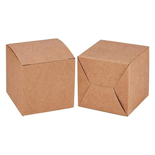 BENECREAT 50 STÜCKE Geschenkboxen Braune Papierschachteln Parteibevorzugungskästen mit Deckeln für Geschenkverpackung, Hochzeitsfest, 5 x 5 x 5 cm