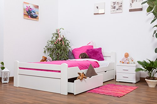 """Jugendbett""""Easy Premium Line"""" K4 inkl. 2 Schubladen und 1 Abdeckblende, 120 x 200 cm Buche Vollholz massiv weiß lackiert"""