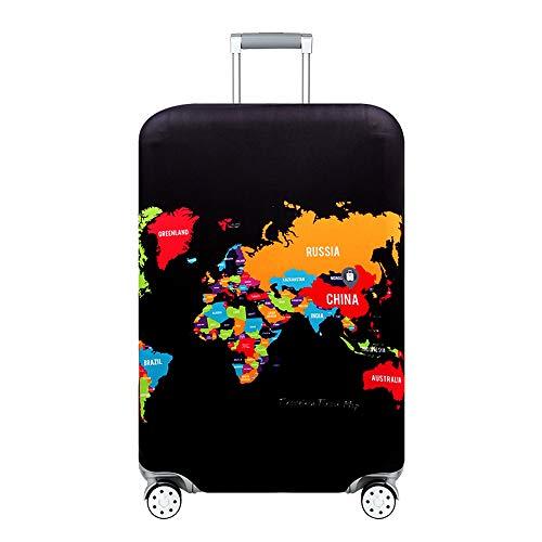 Cover Proteggi Copertura per valigie 18-32 pollici Coperchio per bagagli in fibra di bambù, fibra di carbonio (carta geografica 2, XL)