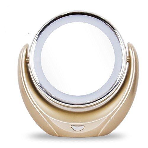Spiegel-LED-ABS-Make-up-Spiegel Desktop doppelseitig mit leichten tragbaren Champagne Gold Spiegel 5-facher Vergrößerung Countertop Spiegel zu Fuß Stand begrüßen