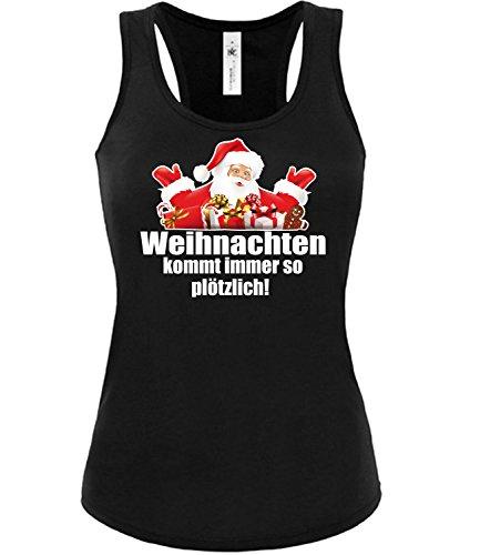 love-all-my-shirts Weihnachten kommt immer so plötzlich 4451 Weihnachtstop Damen Fun Tank Top Funshirt Schwarz M