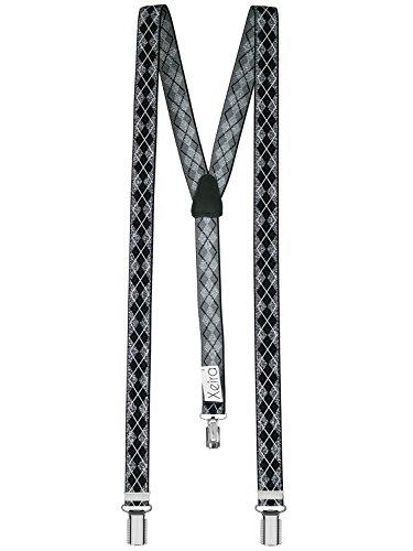 Hochwertige Hosenträger von Xeira® für Damen und Herren in vielen Trendigen Design - 3 Stabile Clips und 25mm Breit - Made in Germany (Standard - 110cm, Schwarz/Silber)