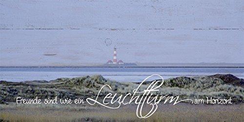 Artland Wand-Bild geweißtes Holz-Bild digital bedruckt mit Motiv Jule Westerhever Strand Statement Bilder Sprüche & Texte Fotografie Blau 50 x 100 x 4,2 cm A7KE