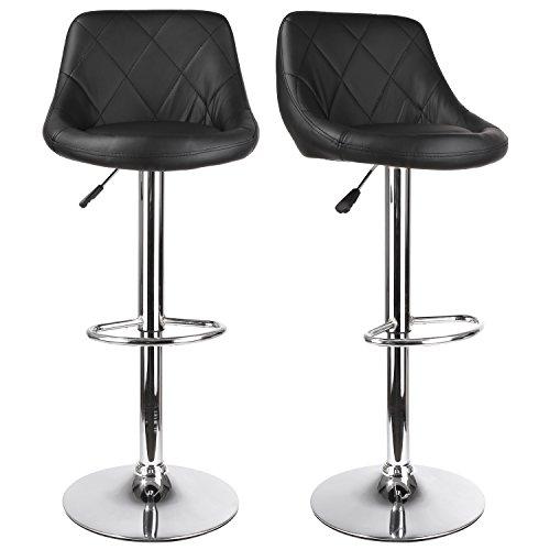Homfa 2er Barhocker mit Rückenlehne Tresenhocker Barstuhl Küchenstühle höhenverstellbar 82-112cm hoch schwarz
