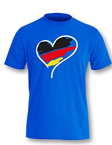 Europameisterschaft 2016 Deutschland Herz - Herren Rundhals T-Shirt Royal/Weiss-schwarz-rot-gelb