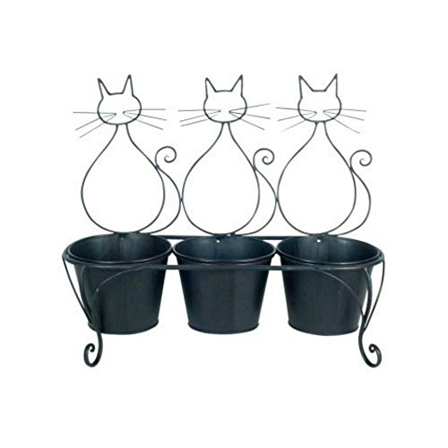 CAPRILO Macetero Triple para Colgar Decorativo de Metal Gatos ...