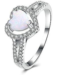 Blisfille Anillos de King Anillo Compromiso Mujer Liso Anillos con Diamantes Genuinos Anillo Azul y Negro