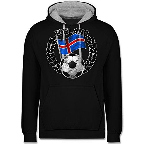 Fußball-WM 2018 - Russland - Iceland Flagge & Fußball Vintage - Kontrast Hoodie Schwarz/Grau Meliert