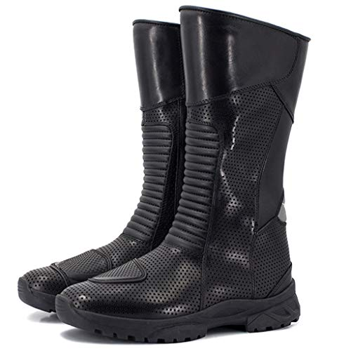 JIN Stivali da Moto in Pelle Scarpe Impermeabili da Moto Scarpe da Ciclista da Uomo per Uomo e Donna,Black-41