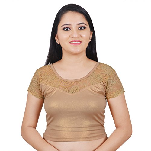 NAMI Light Gold Lace Shimmer Stretchable Short Sleeves Cotton Lycra saree Blouse...