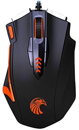 Gaming-Maus programmierbar KingTop Spiele Maus schnurgebunden 13Tasten 400-4000DPI mit Gewicht verstellbar -