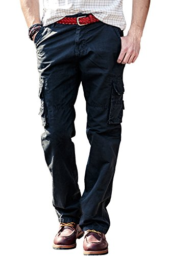 Harrms Herren Casual Chino Cargo Hose Regular Fit Herrenhose Gerader Straight Leg Arbeitshose,Anthrazit,29 (Leg Bermuda)