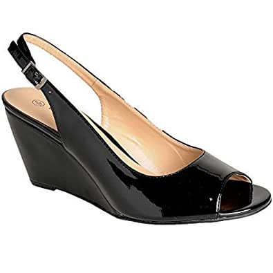 Sapphire Boutique by Sapphire - Chaussures à Talon Compensé avec Sac Pochette - cuir vernis, 41 EU, Noir (chaussures)